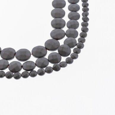 Hematitas, regeneruotas, matinis, briaunuotas, išgaubto disko forma, juoda spalva, 39-40 cm/gija, 4, 6, 8, 10, 12 mm