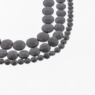 Hematite, Reconstituted, Matte Faceted Puffed Disc Bead, Black, 39-40 cm/strand, 4 mm