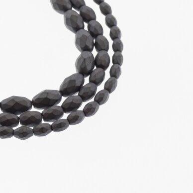 Hematitas, regeneruotas, matinis, briaunuotas, ovalo-ryžio forma, juoda spalva, 39-40 cm/gija, 3x5, 4x6, 5x8, 6x9, 6x12 mm