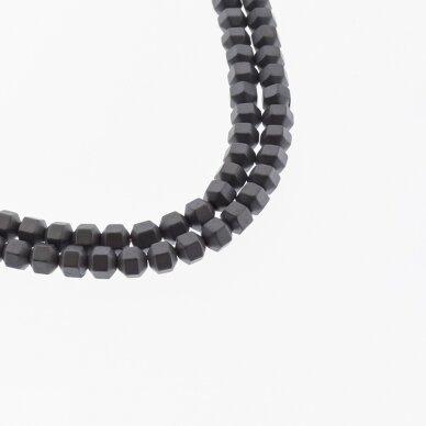 Hematitas, regeneruotas, matinis, briaunuotas, volelio forma, juoda spalva, 39-40 cm/gija, 2, 3, 4 mm