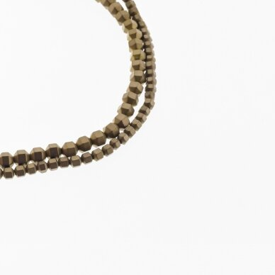 Hematite, Reconstituted, Matte Faceted Roller Bead, Brown, 39-40 cm/strand, 2 mm