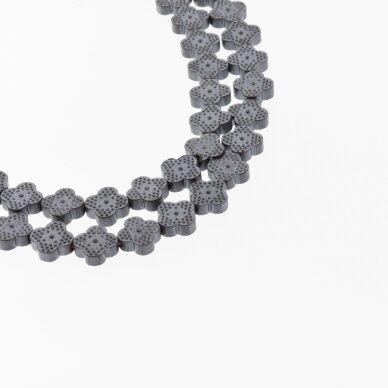 Hematite, Reconstituted, Matte Four-leaf Clover Bead, Black, 39-40 cm/strand, 8x8 mm