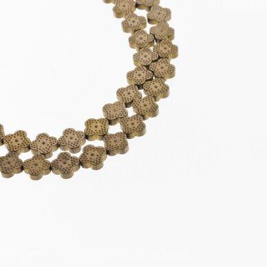 Hematite, Reconstituted, Matte Four-leaf Clover Bead, Brown, 39-40 cm/strand, 8x8 mm