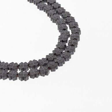 Hematite, Reconstituted, Matte Four-leaf Clover Cross Bead, Black, 39-40 cm/strand, 8x8 mm