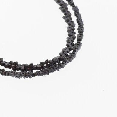 Hematitas, regeneruotas, matinis, drugelio forma, du gręžimo būdai, juoda spalva, 39-40 cm/gija, 4x2, 6x3 mm
