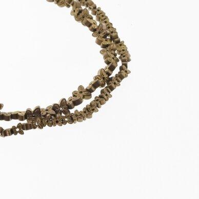 Hematitas, regeneruotas, matinis, drugelio forma, du gręžimo būdai, ruda spalva, 39-40 cm/gija, 4x2, 6x3 mm