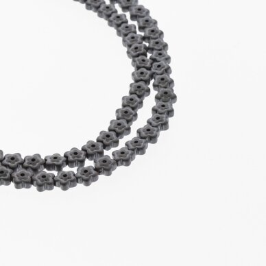 Hematite, Reconstituted, Matte Flower Bead, Two Ways Drilled, Black, 39-40 cm/strand, 6x3 mm