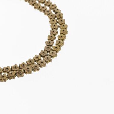 Hematite, Reconstituted, Matte Flower Bead, Two Ways Drilled, Brown, 39-40 cm/strand, 6x3 mm