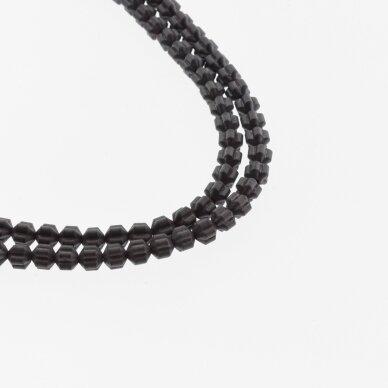 Hematitas, regeneruotas, matinis, gėlės-žibinto rondelės forma, juoda spalva, 39-40 cm/gija, 4x3 mm