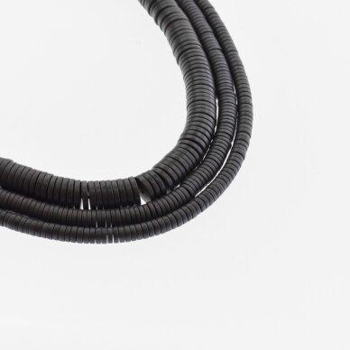 Hematitas, regeneruotas, matinis, heishi rondelės forma, juoda spalva, 39-40 cm/gija, 2x1, 3x1, 4x1, 6x1, 6x2 mm