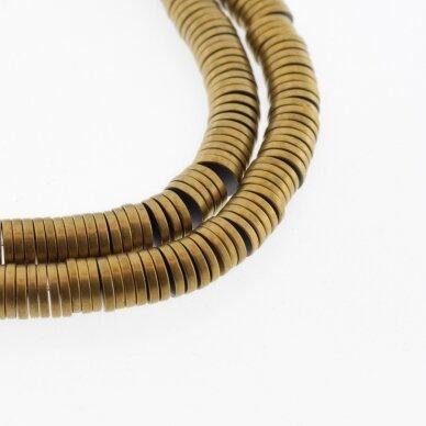 Hematitas, regeneruotas, matinis, heishi rondelės forma, tamsaus aukso spalva, 39-40 cm/gija, 2x1 mm