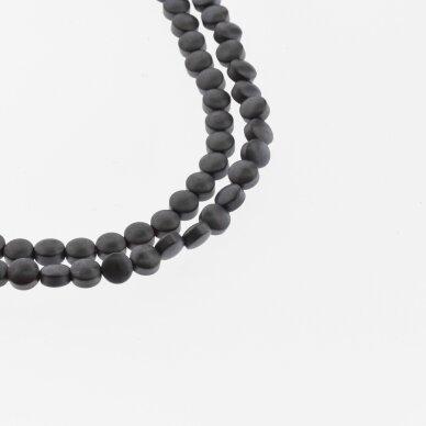 Hematitas, regeneruotas, matinis, išgaubto disko forma, juoda spalva, 39-40 cm/gija, 4, 6, 8, 10 mm