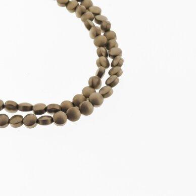 Hematite, Reconstituted, Matte Puffed Disc Bead, Brown, 39-40 cm/strand, 4, 6, 8, 10 mm