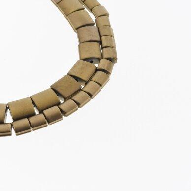 Hematitas, regeneruotas, matinis, išgaubto kvadrato forma, šoniniai išėmimai, ruda spalva, 39-40 cm/gija, 5, 7, 9 mm