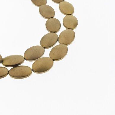 Hematitas, regeneruotas, matinis, išgaubto ovalo forma, ruda spalva, 39-40 cm/gija, 6x8, 10x14, 13x18 mm
