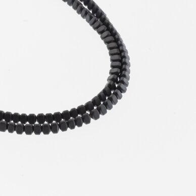 Hematite, Reconstituted, Matte Puffed Triangle Rondelle Bead, Black, 39-40 cm/strand, 3x2 mm