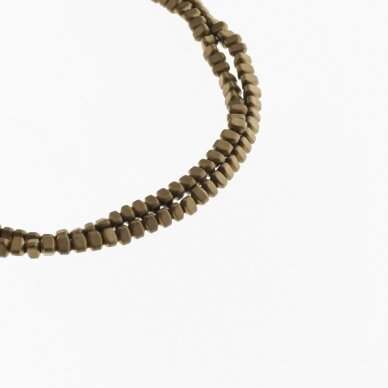 Hematite, Reconstituted, Matte Puffed Triangle Rondelle Bead, Brown, 39-40 cm/strand, 3x2 mm