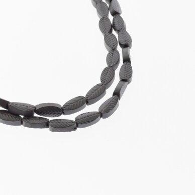 Hematitas, regeneruotas, matinis, išraižyto lapelio forma, juoda spalva, 39-40 cm/gija, 4x8 mm