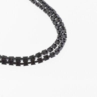 Hematitas, regeneruotas, matinis, kaspino forma, juoda spalva, 39-40 cm/gija, 3x3, 4x3 mm