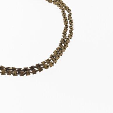 Hematitas, regeneruotas, matinis, kaspino forma, ruda spalva, 39-40 cm/gija, 3x3, 4x4 mm