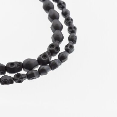 Hematite, Reconstituted, Matte Scull Bead, Black, 39-40 cm/strand, 4x6 mm
