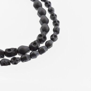 Hematitas, regeneruotas, matinis, kaukolės forma, juoda spalva, 39-40 cm/gija, 4x6, 6x8, 8x10 mm