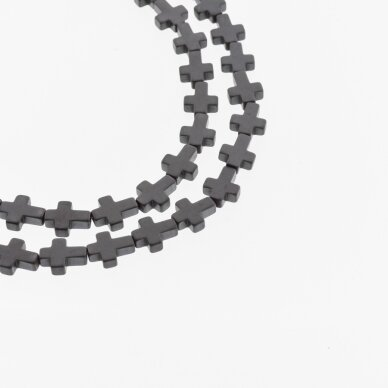 Hematitas, regeneruotas, matinis, kryželio forma, juoda spalva, 39-40 cm/gija, 4x4, 6x6, 6x8, 8x8, 8x10 mm 2