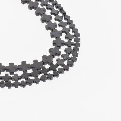 Hematitas, regeneruotas, matinis, kryželio forma, juoda spalva, 39-40 cm/gija, 4x4, 6x6, 6x8, 8x8, 8x10 mm