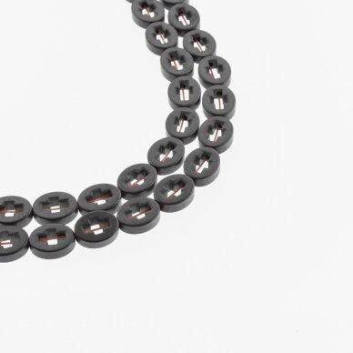 Hematitas, regeneruotas, matinis, kryželio ovale forma, juoda spalva, 39-40 cm/gija, 8x10 mm