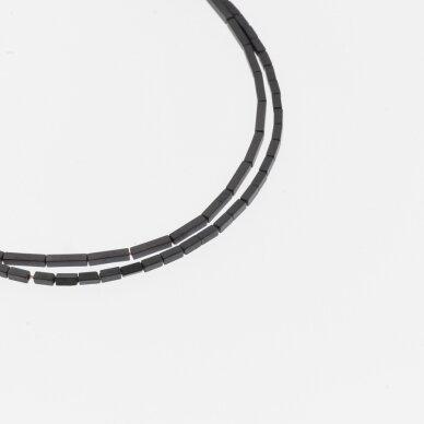 Hematitas, regeneruotas, matinis, kvadratinio vamzdžio forma, juoda spalva, 39-40 cm/gija, 1x3, 1x6, 2x4 mm