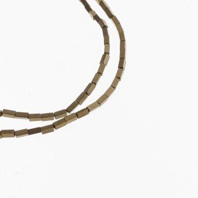 Hematitas, regeneruotas, matinis, kvadratinio vamzdžio forma, ruda spalva, 39-40 cm/gija, 1x3, 1x6, 2x4 mm