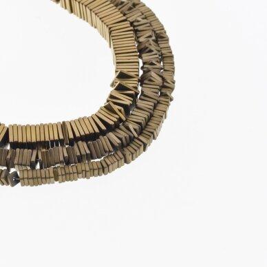 Hematite, Reconstituted, Matte Square Rondelle Bead, Brown, 39-40 cm/strand, 2x1, 3x1, 4x1, 6x1 mm