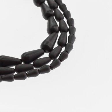 Hematitas, regeneruotas, matinis, lašo forma, juoda spalva, 39-40 cm/gija, 5x8, 6x9, 6x12, 8x12, 8x16 mm
