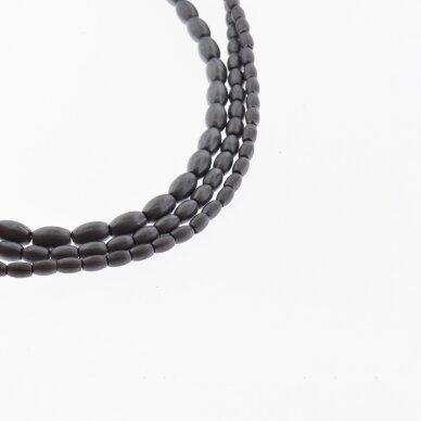 Hematitas, regeneruotas, matinis, ovalo-ryžio forma, juoda spalva, 39-40 cm/gija, 3x5, 4x6, 5x8 mm 2