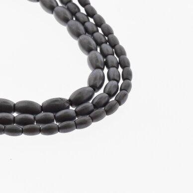 Hematitas, regeneruotas, matinis, ovalo-ryžio forma, juoda spalva, 39-40 cm/gija, 3x5, 4x6, 5x8 mm