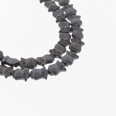 Hematitas, regeneruotas, matinis, pelėdos forma, juoda spalva, 39-40 cm/gija, 8x10 mm