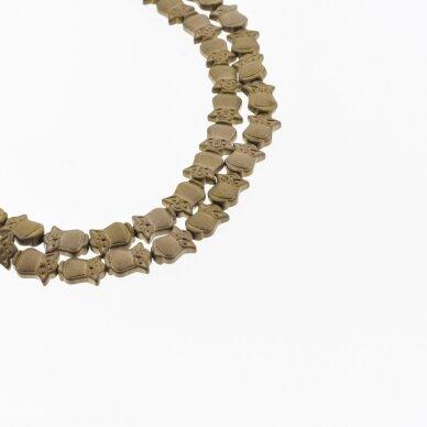 Hematite, Reconstituted, Matte Owl Bead, Brown, 39-40 cm/strand, 8x10 mm