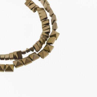 Hematitas, regeneruotas, matinis, piramidės forma, dvi skylutės, ruda spalva, 39-40 cm/gija, 6x3, 6x6 mm