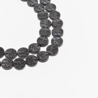 Hematitas, regeneruotas, matinis, plokščia gyvybės medžio forma, juoda spalva, 39-40 cm/gija, 10 mm