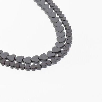 Hematite, Reconstituted, Matte Flat Heart Bead, Black, 39-40 cm/strand, 4 mm