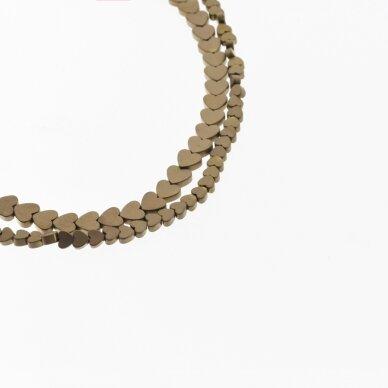 Hematite, Reconstituted, Matte Flat Heart Bead, Brown, 39-40 cm/strand, 4 mm