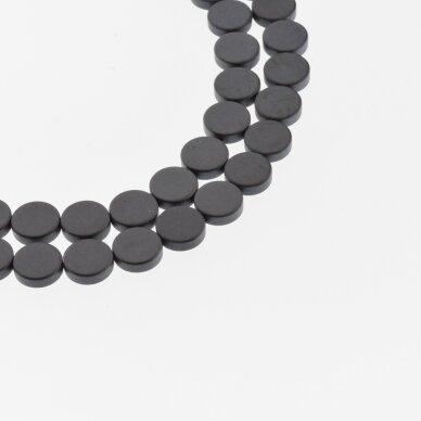 Hematitas, regeneruotas, matinis, plokščio disko forma, juoda spalva, 39-40 cm/gija, 4, 6, 8, 10 mm