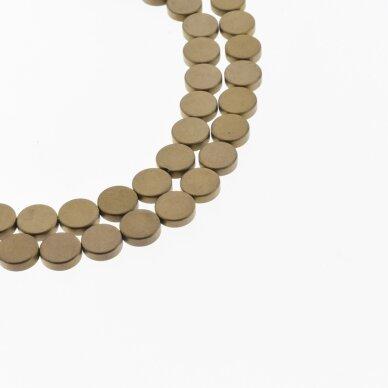 Hematitas, regeneruotas, matinis, plokščio disko forma, ruda spalva, 39-40 cm/gija, 4, 6, 8, 10 mm