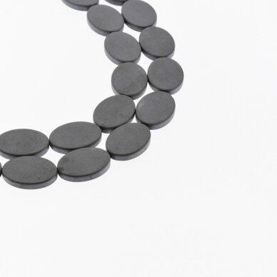Hematitas, regeneruotas, matinis, plokščio ovalo forma, juoda spalva, 39-40 cm/gija, 13x18 mm
