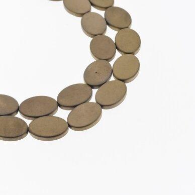 Hematitas, regeneruotas, matinis, plokščio ovalo forma, ruda spalva, 39-40 cm/gija, 13x18 mm