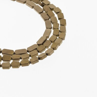 Hematite, Reconstituted, Matte Flat Hexagon Bead, Brown, 39-40 cm/strand, 3x5 mm 2