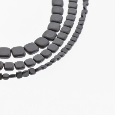 Hematite, Reconstituted, Matte Flat Rounded Square Bead, Black, 39-40 cm/strand, 3 mm