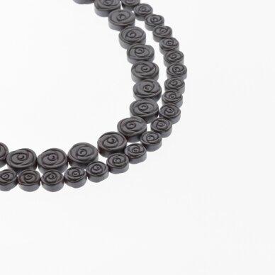 Hematitas, regeneruotas, matinis, rožės forma, juoda spalva, 39-40 cm/gija, 6, 8, 10 mm