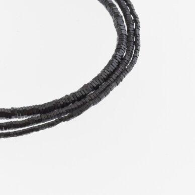 Hematite, Reconstituted, Matte Hexagon Rondelle Bead, Black, 39-40 cm/strand, 2x1 mm