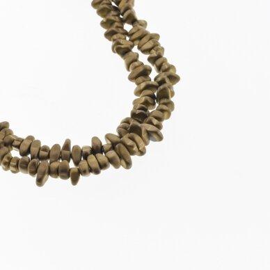 Hematitas, regeneruotas, matinis, skaldos forma, ruda spalva, 39-40 cm/gija, apie 5-8, 8-12 mm